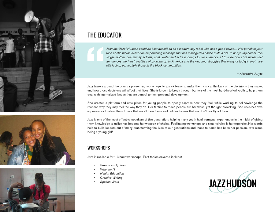 Jazz Hudson: the Educator